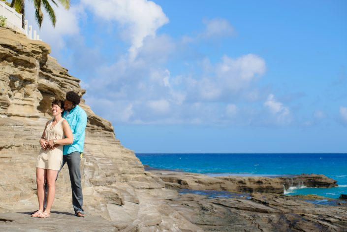 Engagement Photos, Spitting Caves Oahu Hawaii. Photo by Mayberry Multimedia