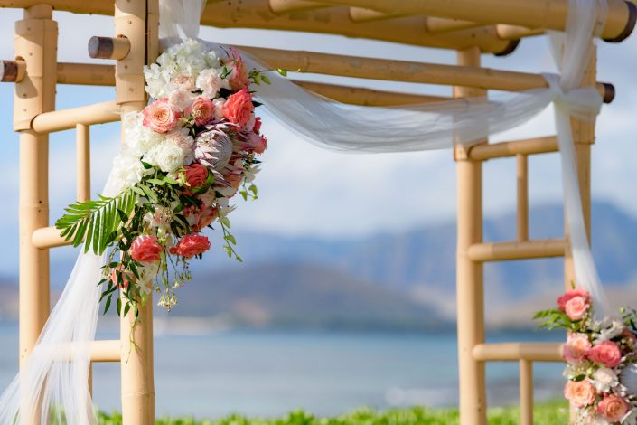 Wedding Ceremony at Paradise Cove. Arch with flowers. Beach Wedding Photography. Photo by Mayberry Multimedia