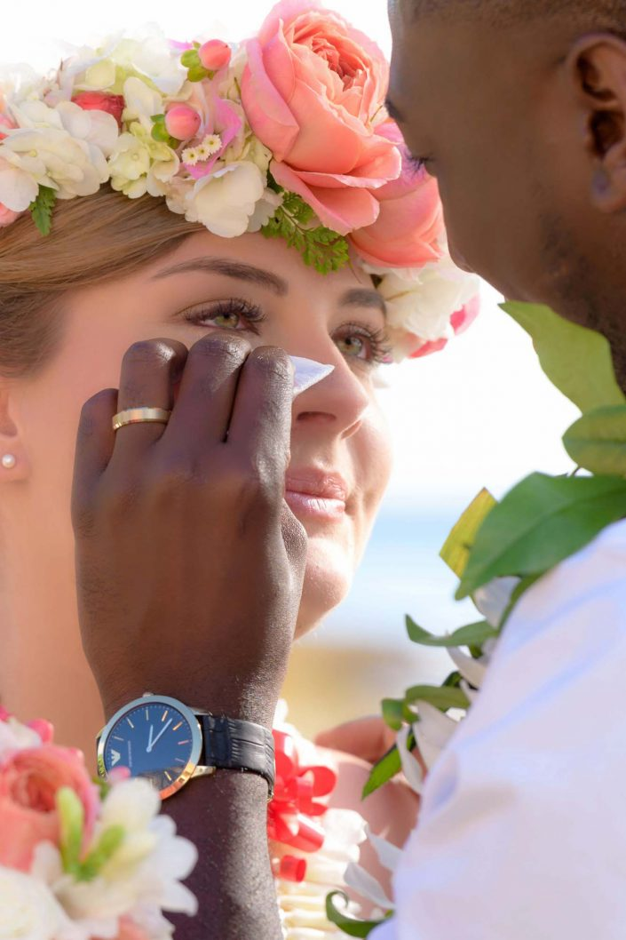 Oahu Wedding Photography - Paradise Cove, Bride and Groom. Photo by Mayberry Multimedia