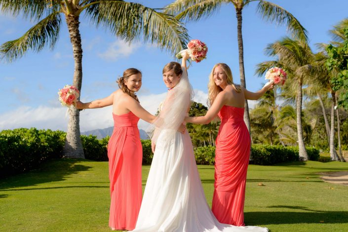 Oahu Wedding Photography - Paradise Cove - Bride with Bridesmaids. Photo by Mayberry Multimedia