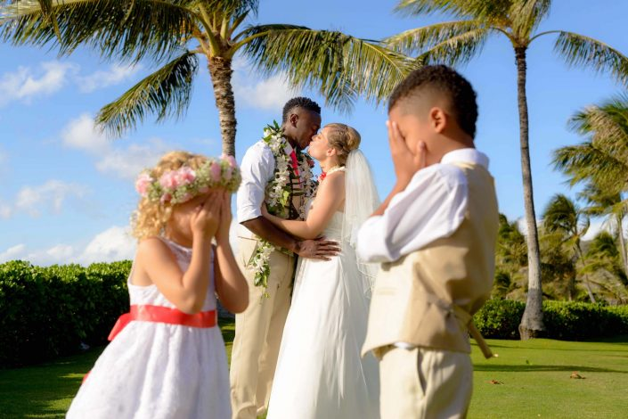 Oahu Wedding Photography - Bride and Groom with Flower Girl and Ring Bearer. Photo by Mayberry Multimedia