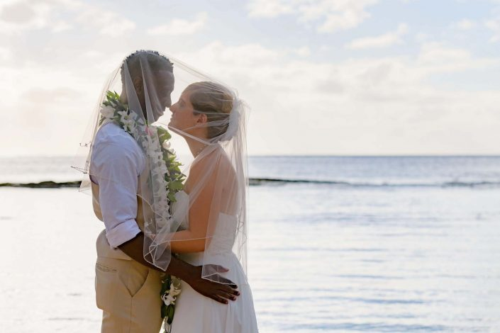 Oahu Wedding Photography - Paradise Cove, Bride and Groom Portraits. Photo by Mayberry Multimedia