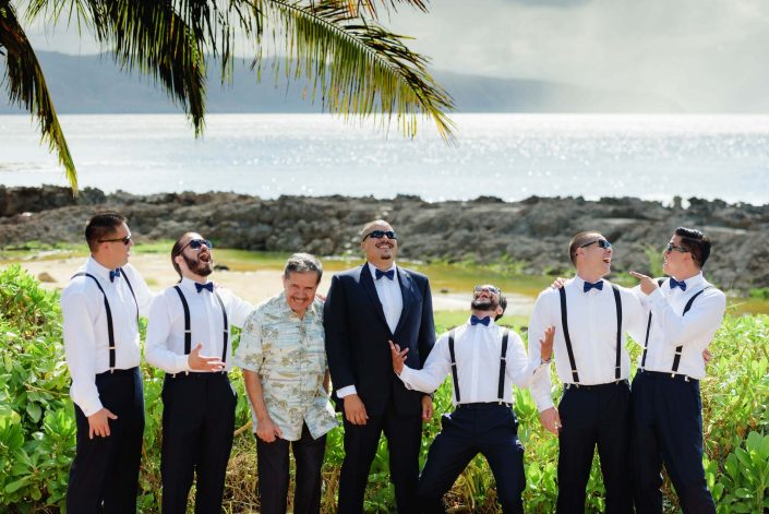 Groom and Groomsmen - Destination Wedding in Hawaii at the Hawaii Polo Club on Oahu's North Shore. Photo by Mayberry Multimedia