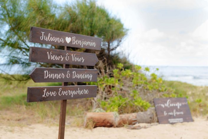 Wedding signage - Destination Wedding in Hawaii at the Hawaii Polo Club on Oahu's North Shore. Photo by Mayberry Multimedia
