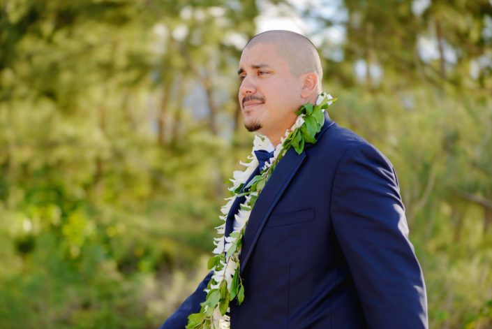 Groom at Destination Wedding in Hawaii at the Hawaii Polo Club on Oahu's North Shore. Photo by Mayberry Multimedia