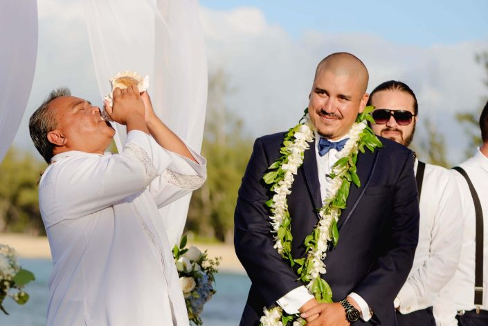 Conch Shell - Destination Wedding in Hawaii at the Hawaii Polo Club on Oahu's North Shore. Photo by Mayberry Multimedia