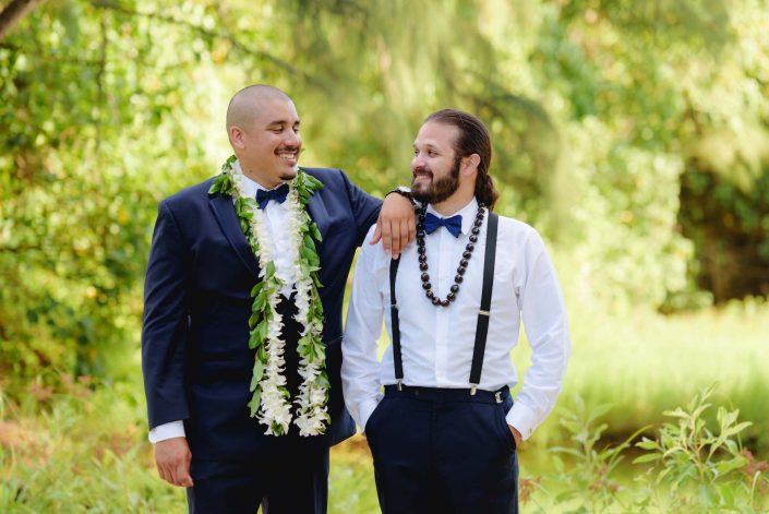 Groom and Best Man at Destination Wedding in Hawaii at the Hawaii Polo Club on Oahu's North Shore. Photo by Mayberry Multimedia