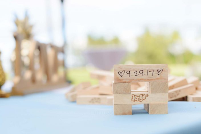 Jenga at Destination Wedding in Hawaii at the Hawaii Polo Club on Oahu's North Shore. Photo by Mayberry Multimedia