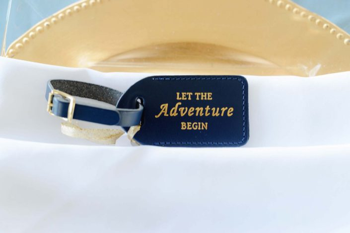 Luggage Tag Wedding Favors at Destination Wedding in Hawaii at the Hawaii Polo Club on Oahu's North Shore. Photo by Mayberry Multimedia