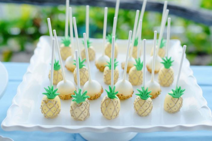 Pineapple Cake Pops Destination Wedding in Hawaii at the Hawaii Polo Club on Oahu's North Shore. Photo by Mayberry Multimedia